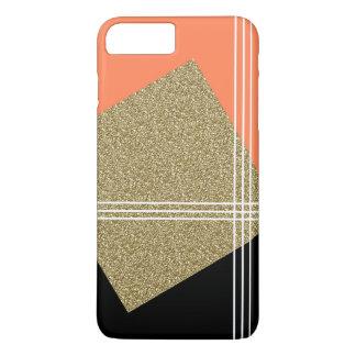 Coral, negro y cuadrado del oro funda para iPhone 8 plus/7 plus