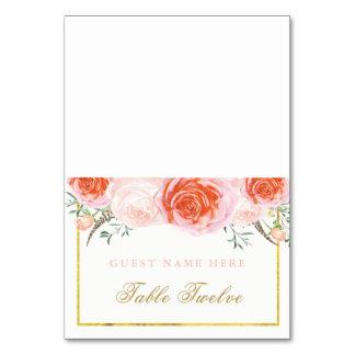 Coral romántico y tarjetas rosadas del