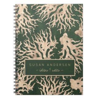 Corales subiós aguacate verde del oro modelados cuaderno