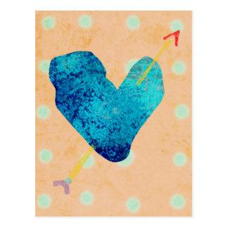 Corazón 14 de febrero azul postal