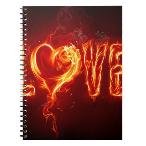 Corazón abstracto del amor del fuego cuaderno