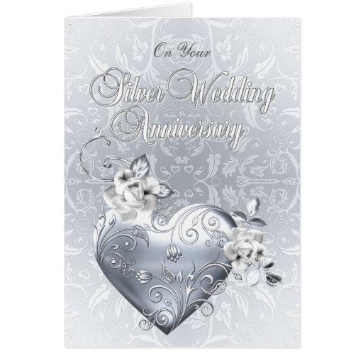 Corazón afiligranado de plata y rosas blancos tarjetas