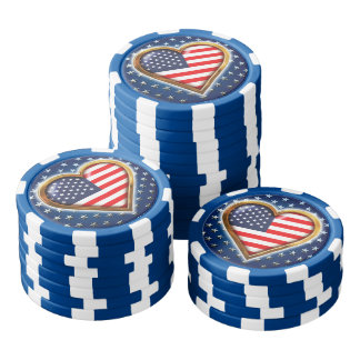 Corazón americano juego de fichas de póquer