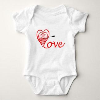 Corazón amor blanco con flecha body para bebé