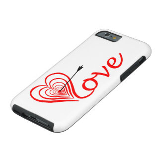 Corazón amor blanco con flecha funda resistente iPhone 6
