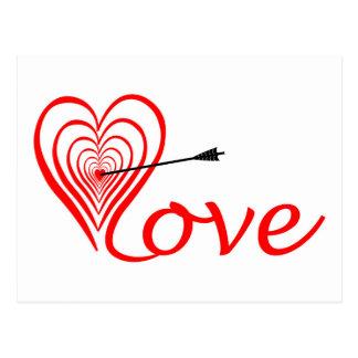 Corazón amor blanco con flecha postal