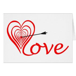 Corazón amor blanco con flecha tarjeta