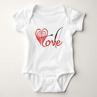 Corazón amor blanco con flecha y arco body para bebé