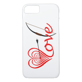 Corazón amor blanco con flecha y arco funda para iPhone 8/7