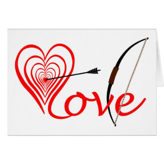 Corazón amor blanco con flecha y arco tarjeta