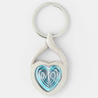 Corazón AMOR TURQUESA Llavero Plateado En Forma De Corazón