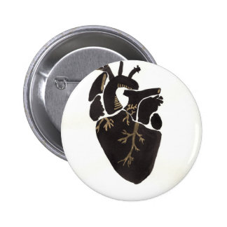Corazón anatómico negro chapa redonda de 5 cm