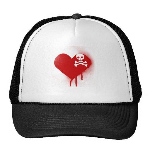 Corazón anti del cráneo de Emo del día de San Vale Gorro