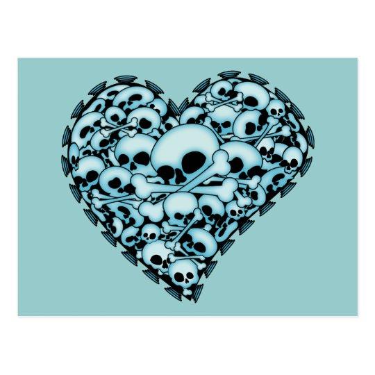 Corazón azul del cráneo postal