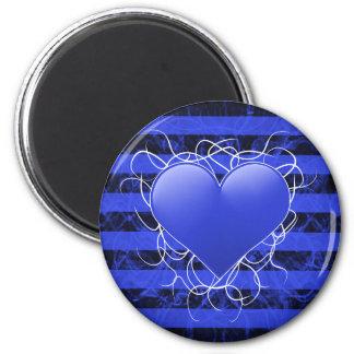 Corazón azul del emo punky gótico con las rayas ne imán de frigorífico