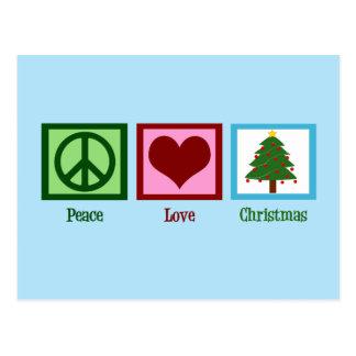 Corazón azul del signo de la paz del árbol de postal