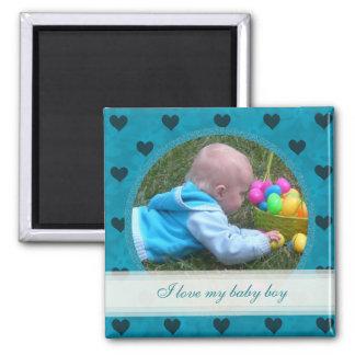 Corazón azul enmarcado: Bebé: Imán de la imagen
