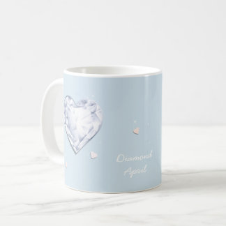 Corazón azul fresco del diamante de Birthstones Taza De Café