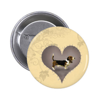 Corazón Basset Hound Chapa Redonda De 5 Cm