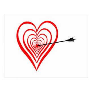 Corazón blanco con flecha postal