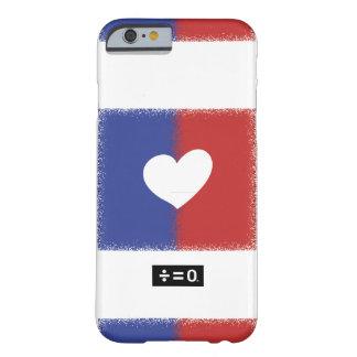 Corazón blanco y azul rojo patriótico de la unidad funda barely there iPhone 6