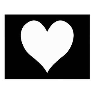 Corazón blanco y negro postal