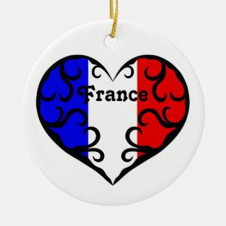Corazón bonito de Francia en blanco Adorno Redondo De Cerámica