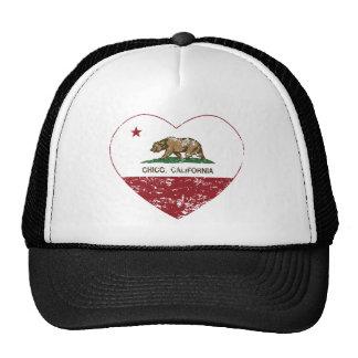 corazón chico de la bandera de California apenado Gorras