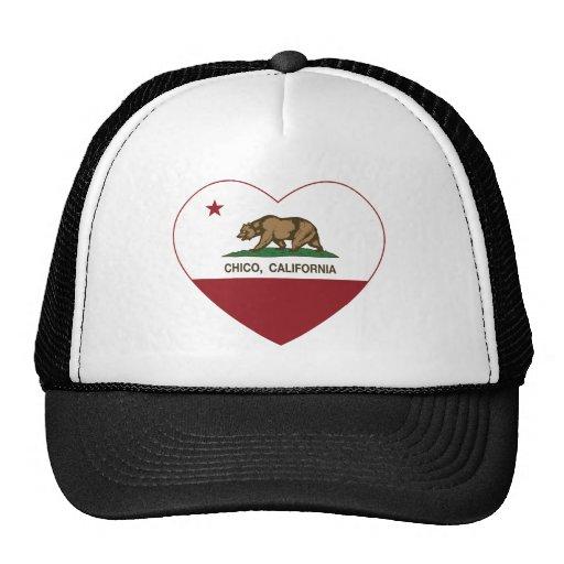 corazón chico de la bandera de California Gorro