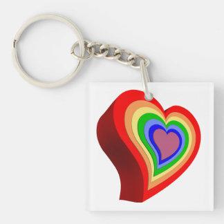 Corazón colorido gay llavero cuadrado acrílico a doble cara