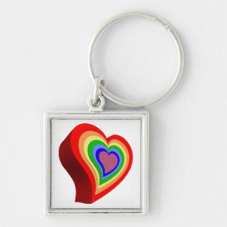 Corazón colorido gay llavero cuadrado plateado