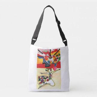 Corazón colorido y la bolsa de asas floral del