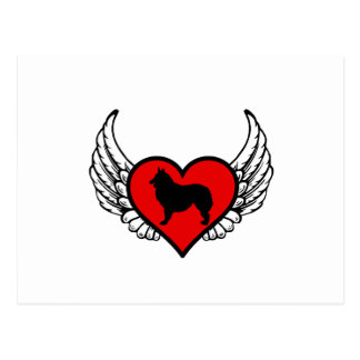 Corazón con alas silueta belga del perro de pastor postal