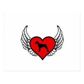 Corazón con alas silueta del perro del perro de postal