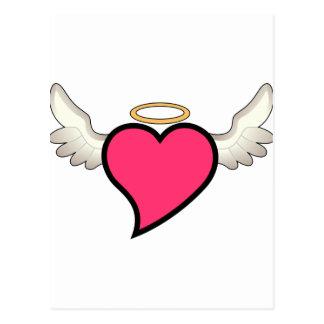 Corazón con alas postal