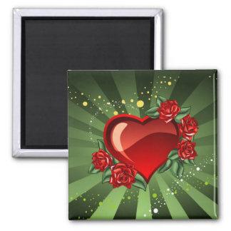 corazón con los rosas imán cuadrado