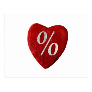 Corazón con símbolo de por ciento postal