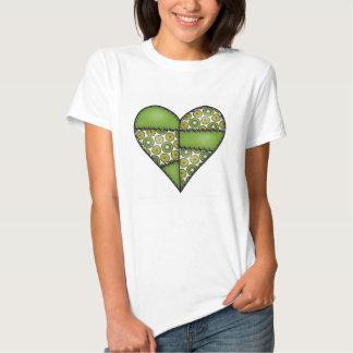 Corazón cosido acolchado rellenado Green-09 Camisas