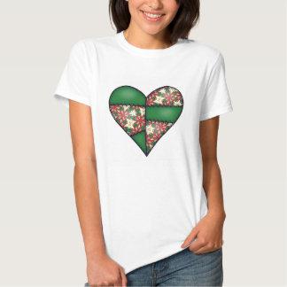 Corazón cosido acolchado rellenado Green-12 Camisetas