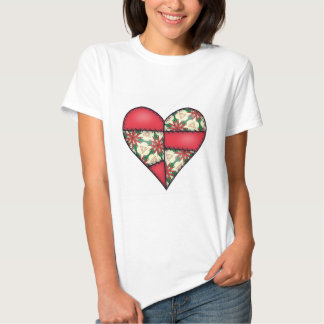 Corazón cosido acolchado rellenado Red-04 Camiseta