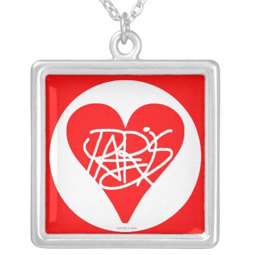 Corazón cuadrado del rojo del collar de París del