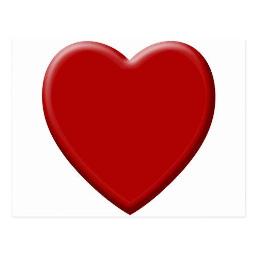Corazón de amor rojo postal