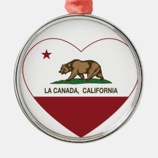 corazón de Canadá del la de la bandera de Californ Ornamentos De Navidad