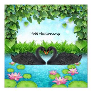Corazón de cisnes invitación 13,3 cm x 13,3cm