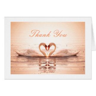 Corazón de cisnes tarjeta pequeña