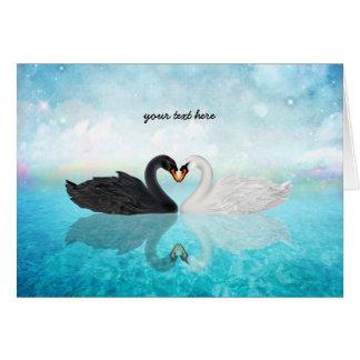 Corazón de cisnes tarjeta de felicitación