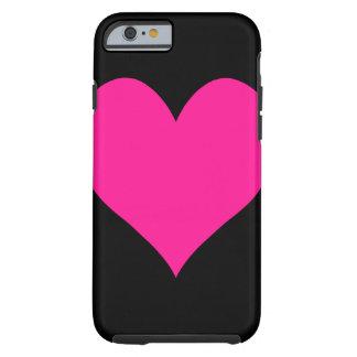 Corazón de color rosa oscuro lindo funda de iPhone 6 tough