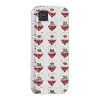 corazón de Corona del Mar de la bandera de Califor Vibe iPhone 4 Carcasas