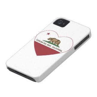 corazón de Corona del Mar de la bandera de Califor iPhone 4 Cárcasas