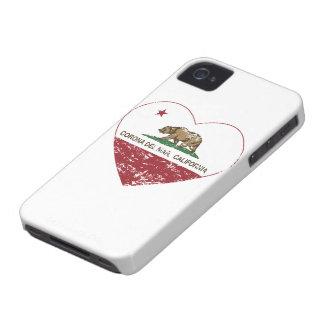 corazón de Corona del Mar de la bandera de Califor iPhone 4 Case-Mate Cobertura